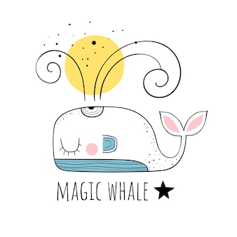Vector illustration of a cute whale.scandinavian motives. cartoon background.