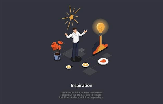 Vector illustration on dark background. isometric composition on inspiration concept. cartoon 3d style. new ideas, male businessperson character having insight notion, infographic elements around