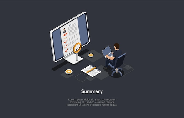 Vector illustration on dark background. isometric composition on summary concept. cartoon 3d style. business resume, job application candidate form, human resources agent. computer screen, character