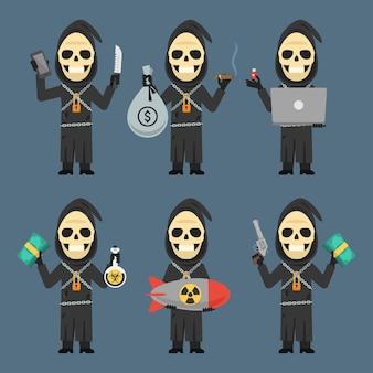 Vector illustration, death holding laptop phone bomb weapons money, format eps 10