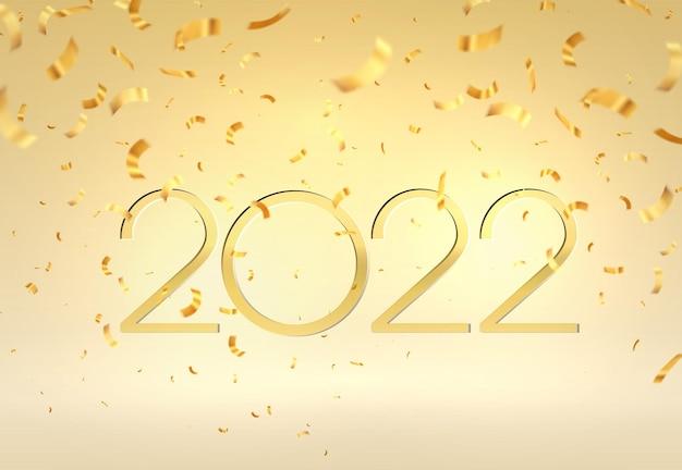 벡터 일러스트 레이 션 defocused 골드 색종이입니다. 2022년 새해 복 많이 받으세요. 많은 떨어지는 작은 색종이 조각으로 벡터 추상적인 배경