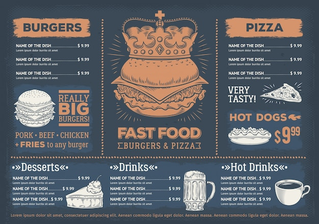 Vector illustration of a design fast food restaurant menu, a cafe with a hand-drawn graphics.