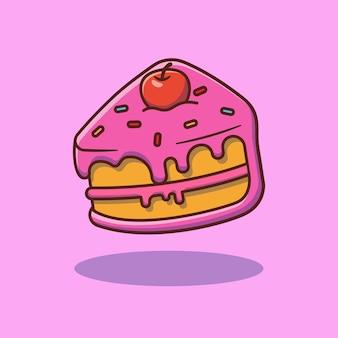 チェリートッピングプレミアム孤立食品コンセプトデザインとケーキスライスのベクトルイラストデザイン