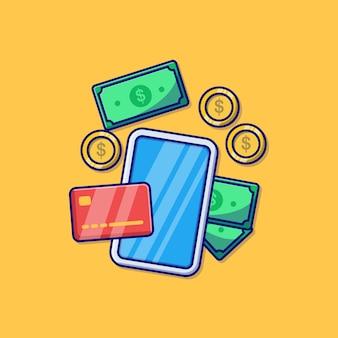 スマートフォンのクレジットカードのドルといくつかのコインのベクトルイラストデザイン