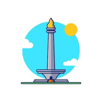 인도네시아의 유명한 모나스 국립 기념물의 벡터 일러스트 디자인