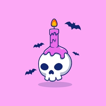 Vector illustration design skull with candle on it