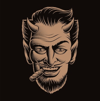 Vector illustration of a devil's face smoking a cigar on dark