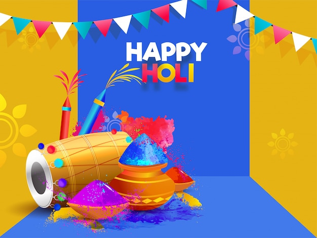Vector illustration of dhol with color guns and pots or yellow a