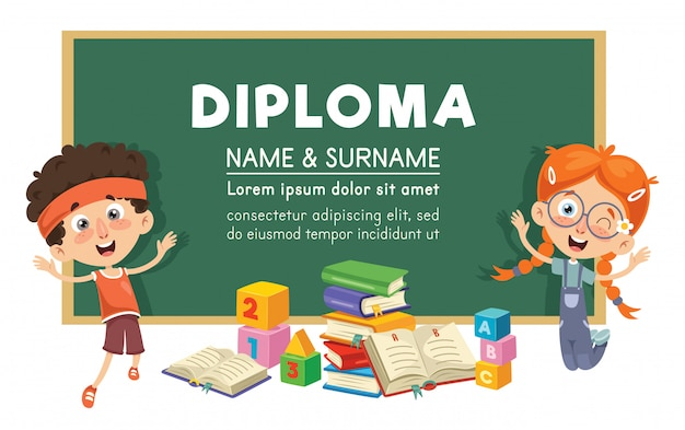 Vector illustration of diploma design