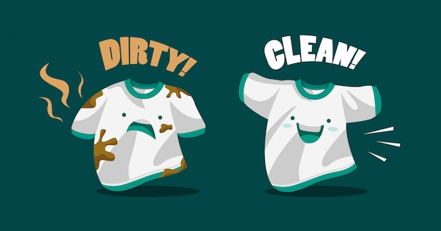 Vector illustration of a dirty and clean t-shirt