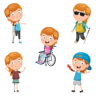 Vector illustration of disabilities