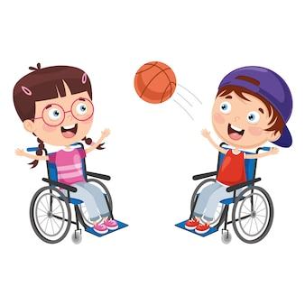 Vector illustration of disabled kids