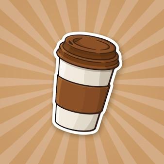 만화 스타일의 커피 또는 차 스티커와 함께 벡터 일러스트 레이 션 일회용 종이 컵
