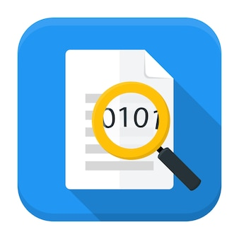 Vector illustration of document with magnifying glass. flat app square icon with long shadow.