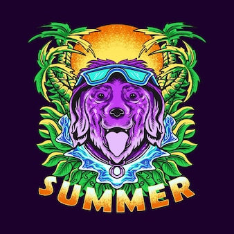 Vector illustration of a dog swimming in summer