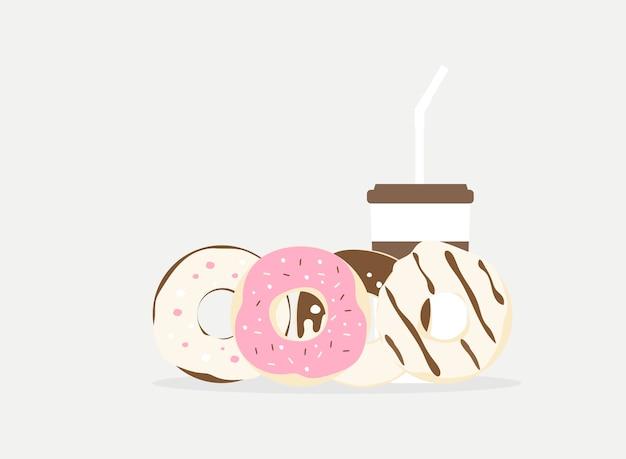 Векторные иллюстрации пончик и напитки