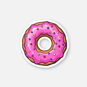 Векторная иллюстрация пончик с розовой глазурью и цветной пудрой мультяшный стикер
