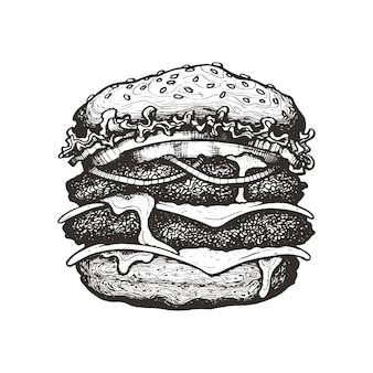 Векторная иллюстрация двойной чизбургер большой бургер из говядины с овощами рисованный эскиз тушью
