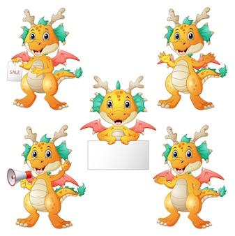 Vector illustration of dragons cartoon set