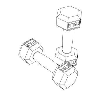 Vector illustration of dumbbells - line sketch art. 15lb