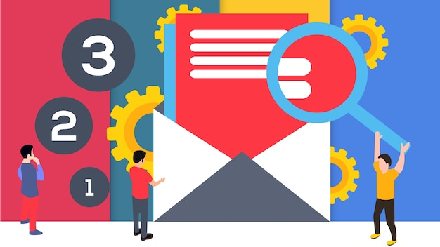 Vector illustration e mail with icon background