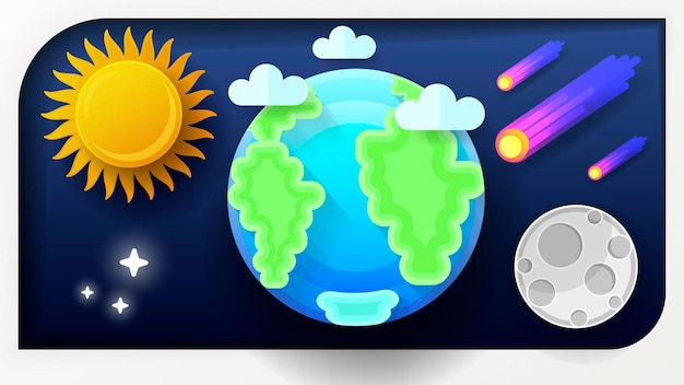 Vector illustration of earth globe. a blue planet with clouds and paper-style space.