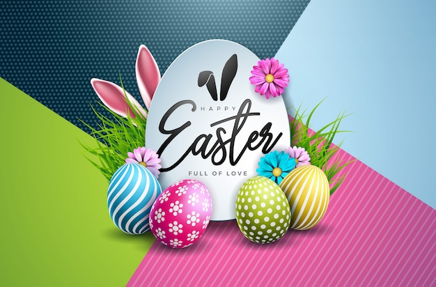 Vector illustration of easter holiday with egg and flower