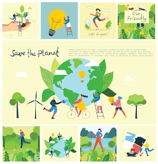 Vector illustration eco backgrounds of concept of green eco energy and quote save the planet, think green and waste recycle
