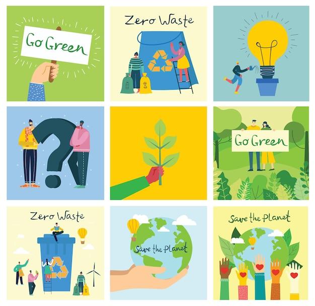 Векторная иллюстрация эко фоны концепции зеленой экологической энергии и цитаты спасите планету и переработайте отходы в плоском геометрическом стиле
