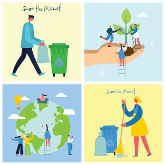 Векторная иллюстрация эко фоны концепции зеленой эко энергии и цитата спасти планету, думай о зеленом и утилизации отходов