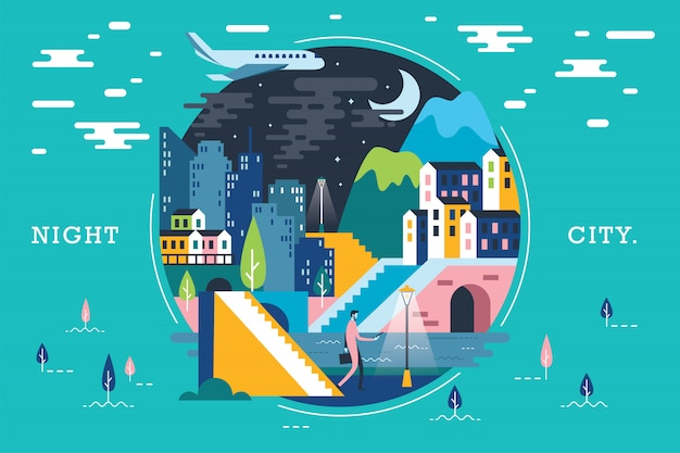 Vector illustration of ecosystem town