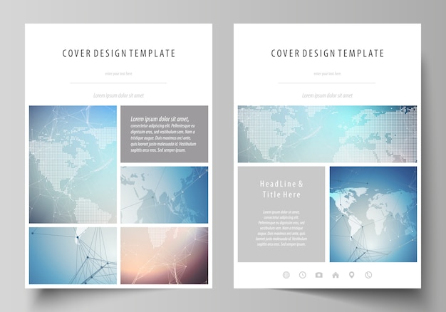 The vector illustration of the editable layout of a4 format covers design template