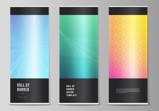 The vector illustration of the editable layout of roll up banner stands