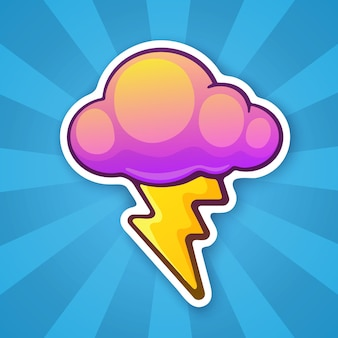 Vector illustration electric lightning bolt with cloud thunderbolt strike symbol