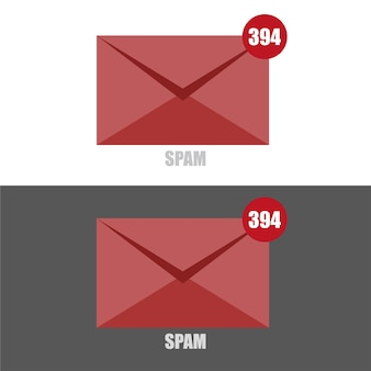 Vector illustration of email spam with red colored envelope on black and white backgrounds