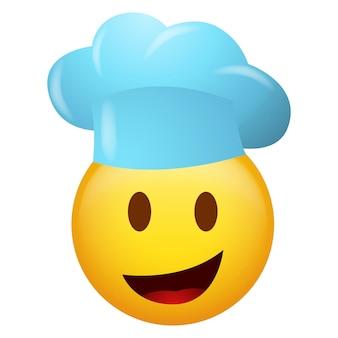 Vector illustration of emoticon wearing chef hat