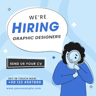 Vector illustration of employee female saying we are hiring graphic designers