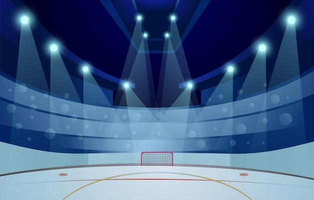 Векторная иллюстрация пустой хоккейный стадион зимой