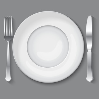 Vector illustration of empty white plate.