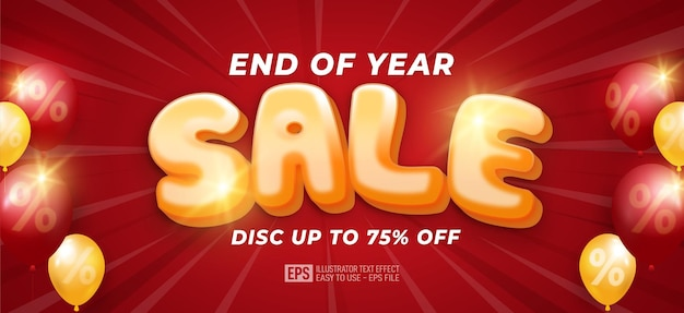 Vector illustration end of year sale banner template design with balloons on red background