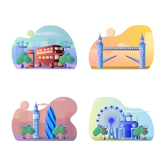Vector illustration of england tourist destination
