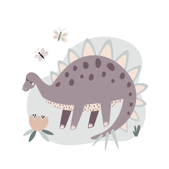 Vector illustration of extinct animal big brown dinosaur drawing in flat style