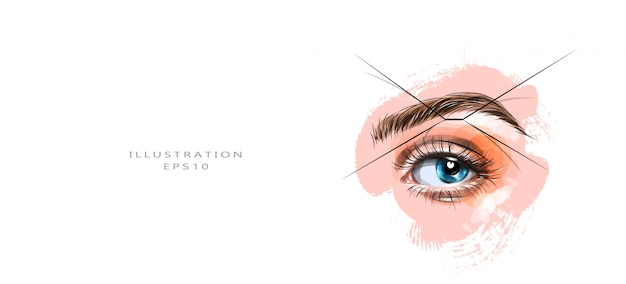 Vector illustration. eyebrow shaping with a thread.