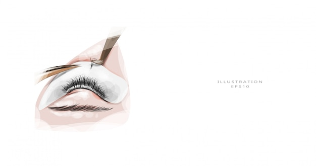 Vector illustration. eyelash extension. eyelash extension process.