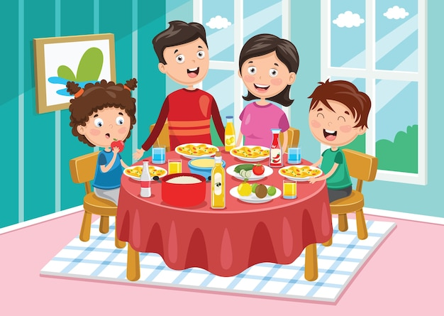 Vector illustration of family having dinner