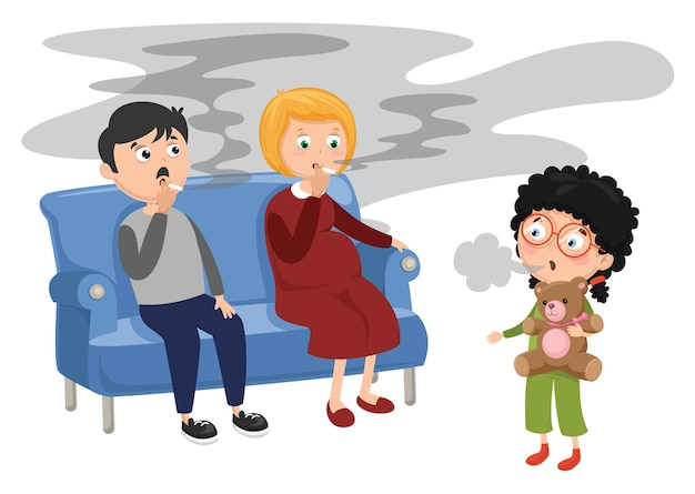 Vector illustration of family smoking