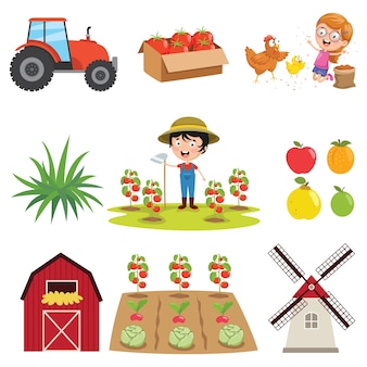Vector illustration of farm things