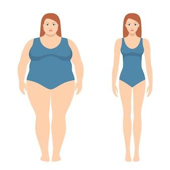 Vector illustration of fat and slim woman in flat style.