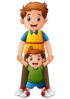 Vector illustration of father with son holding hand together