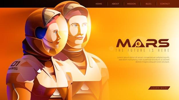 自信を持って一緒に立って準備ができている2人の火星の宇宙飛行士をフィーチャーしたベクトルイラスト